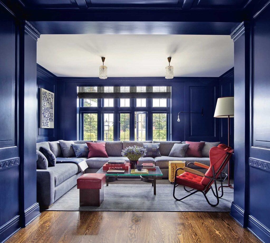 Classic Blue painted media room