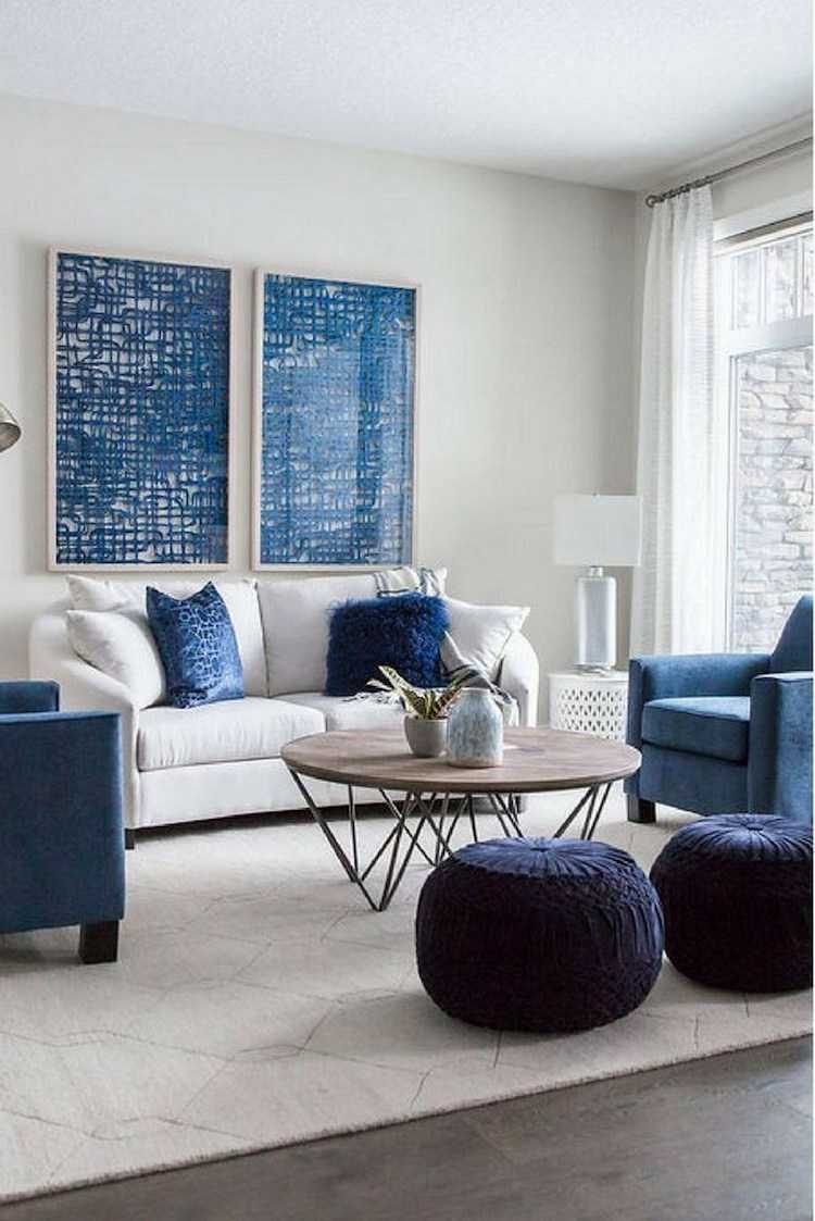 Classic Blue in living room accents