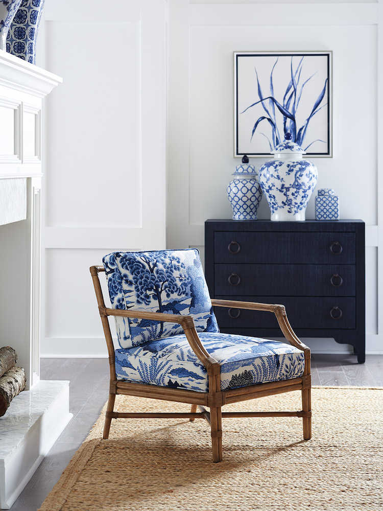 Classic blue print accent chair
