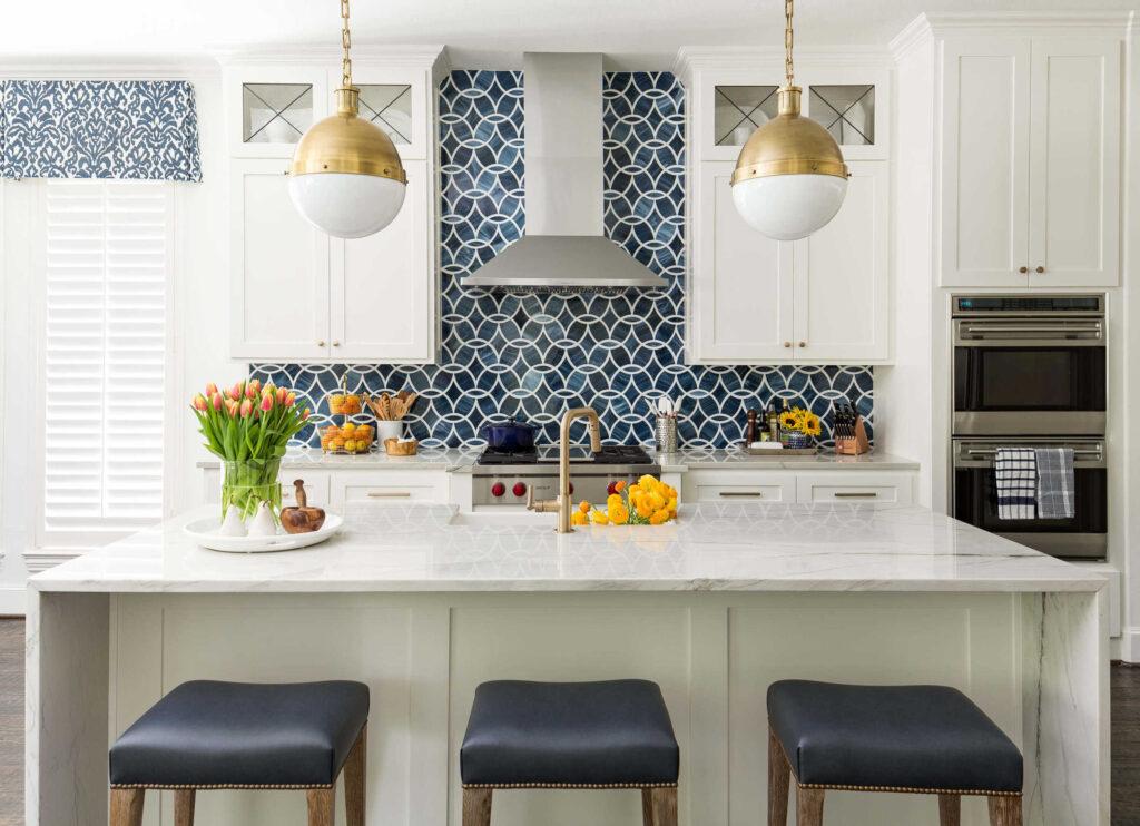 Classic Blue tile backspash in kitchen