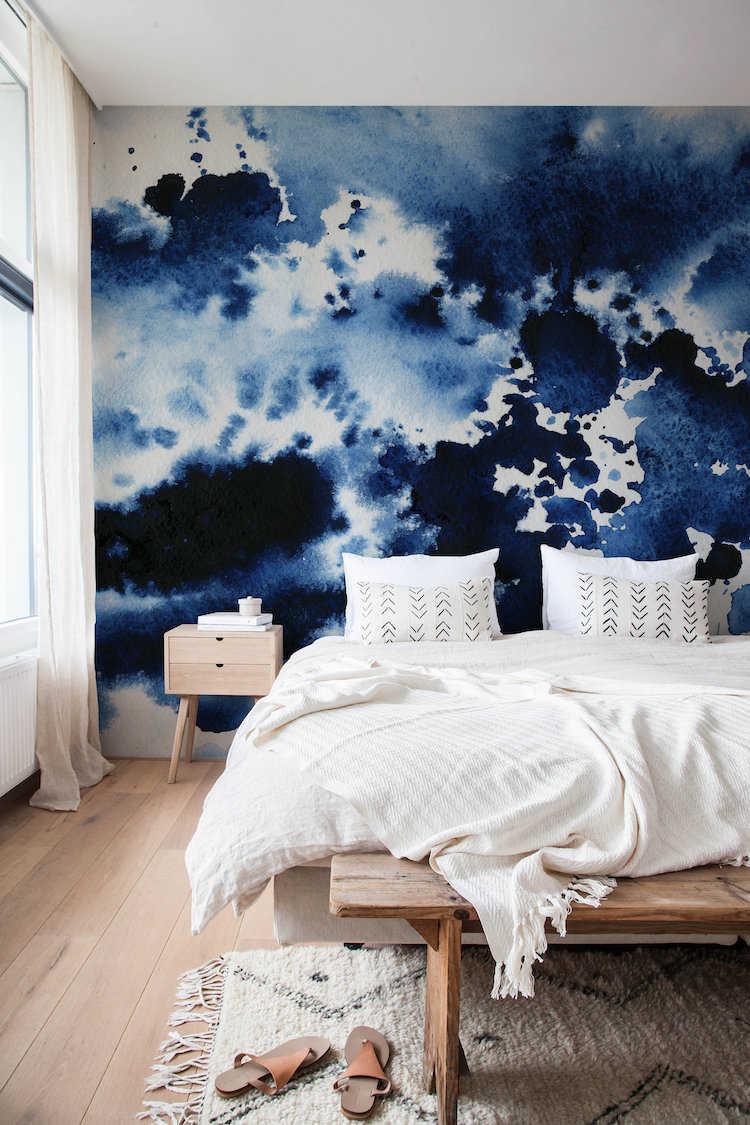 Classic Blue wallpaper in bedroom