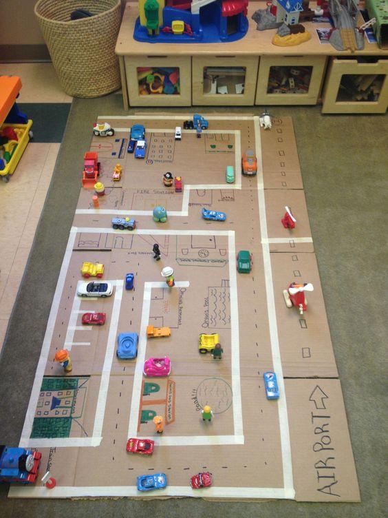 indoor toddler activity: cardboard playmat