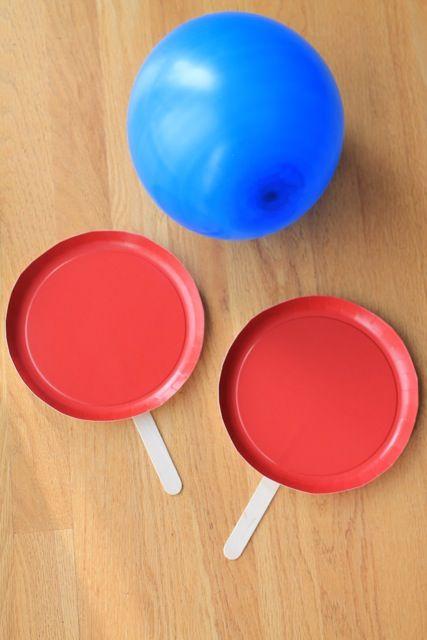 easy indoor activity for kids: balloon tennis