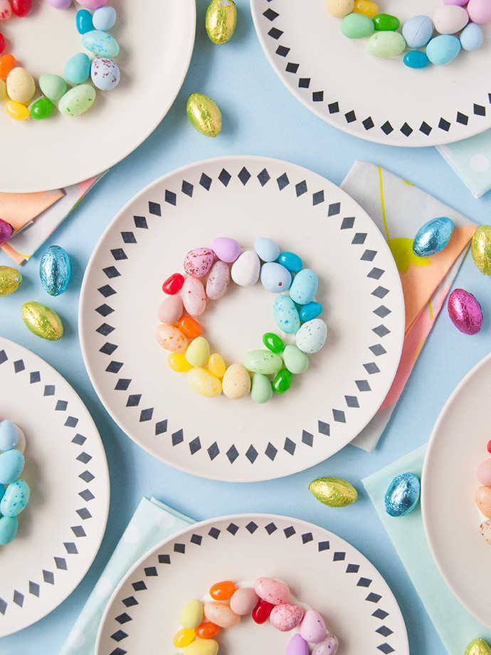 Easter table setting with rainbow eggs