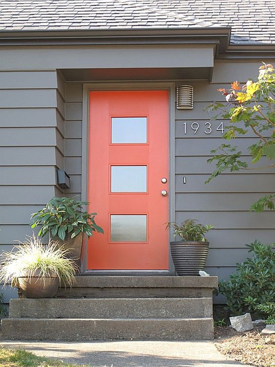 bright orange painted front door
