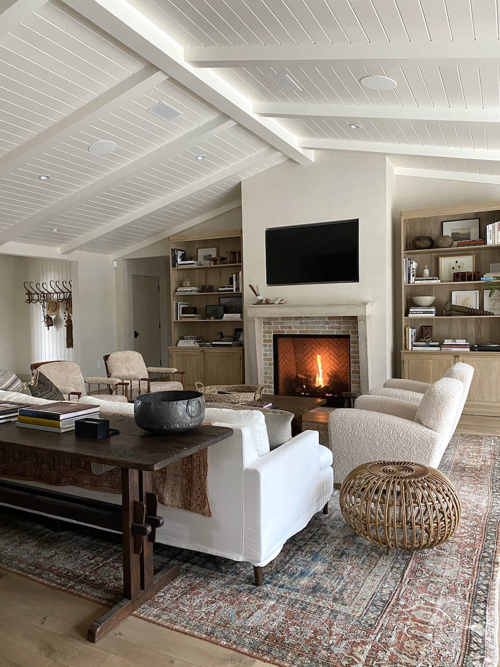 rustic modern fireplace by Amber Interiors