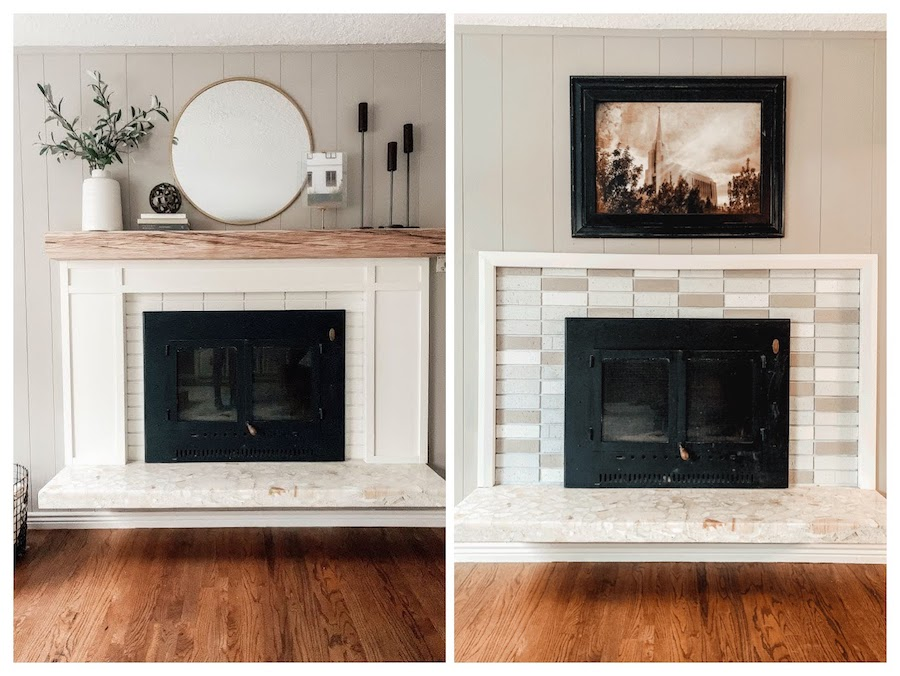 fireplace DIY mantel, trim and paint