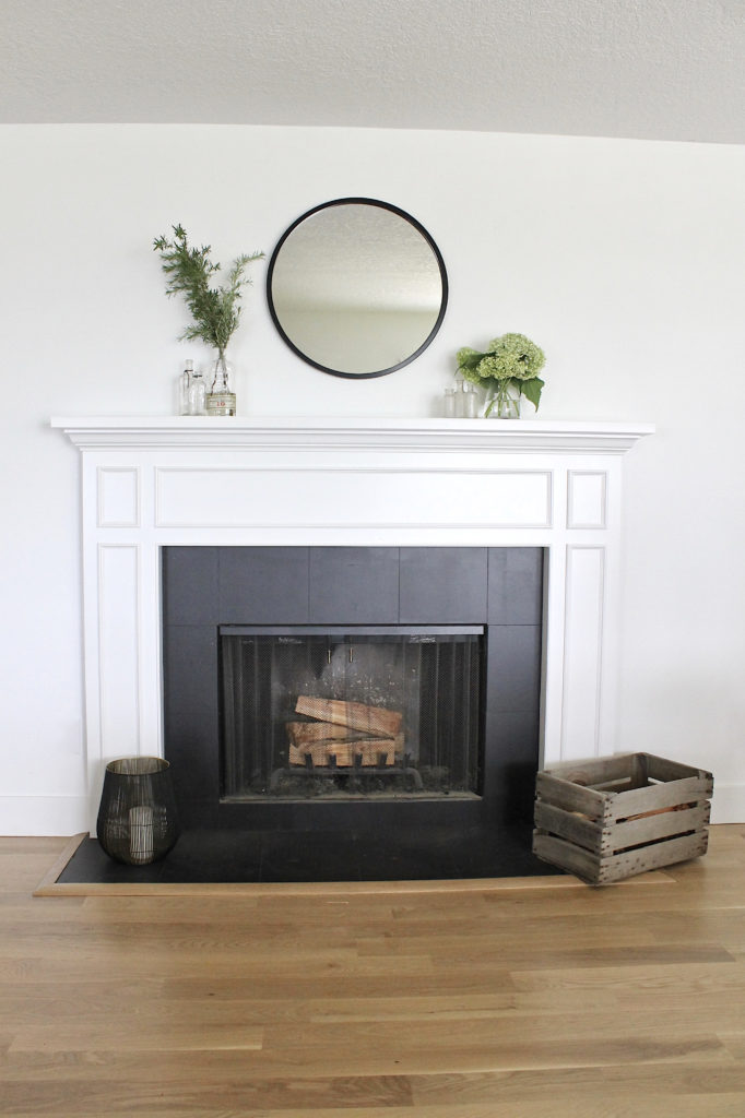 painted tile fireplace DIY