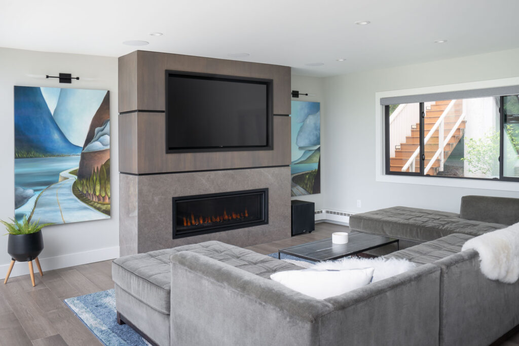 modern minimalist fireplace with tile and wood