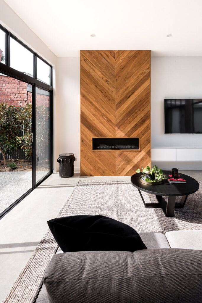 modern wood clad fireplace