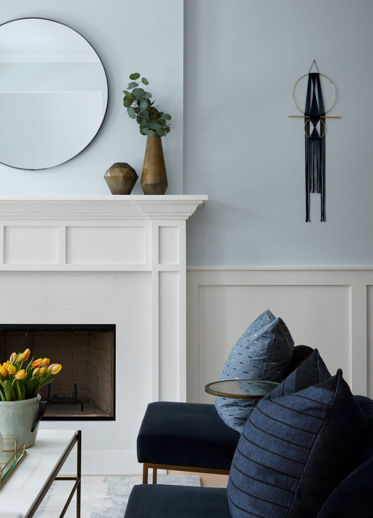 white transitional style fireplace
