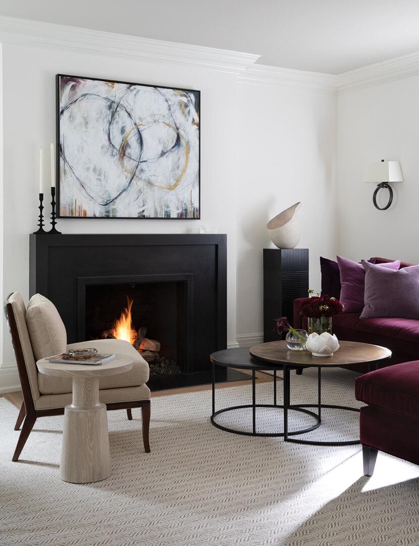 black transitional style fireplace