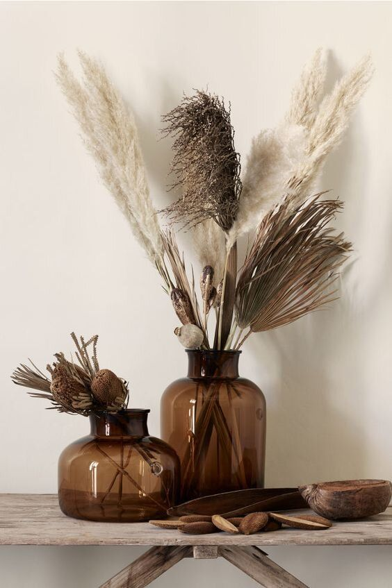 fall dried grasses in vases