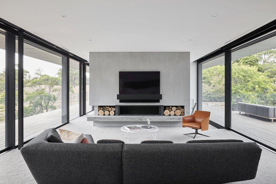 modern ribbon fireplace