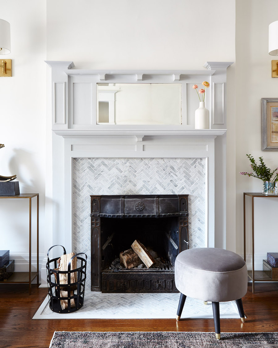 restored fireplace in historic home