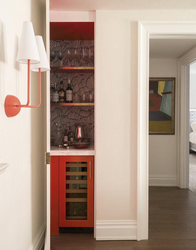 hidden dry bar behind door