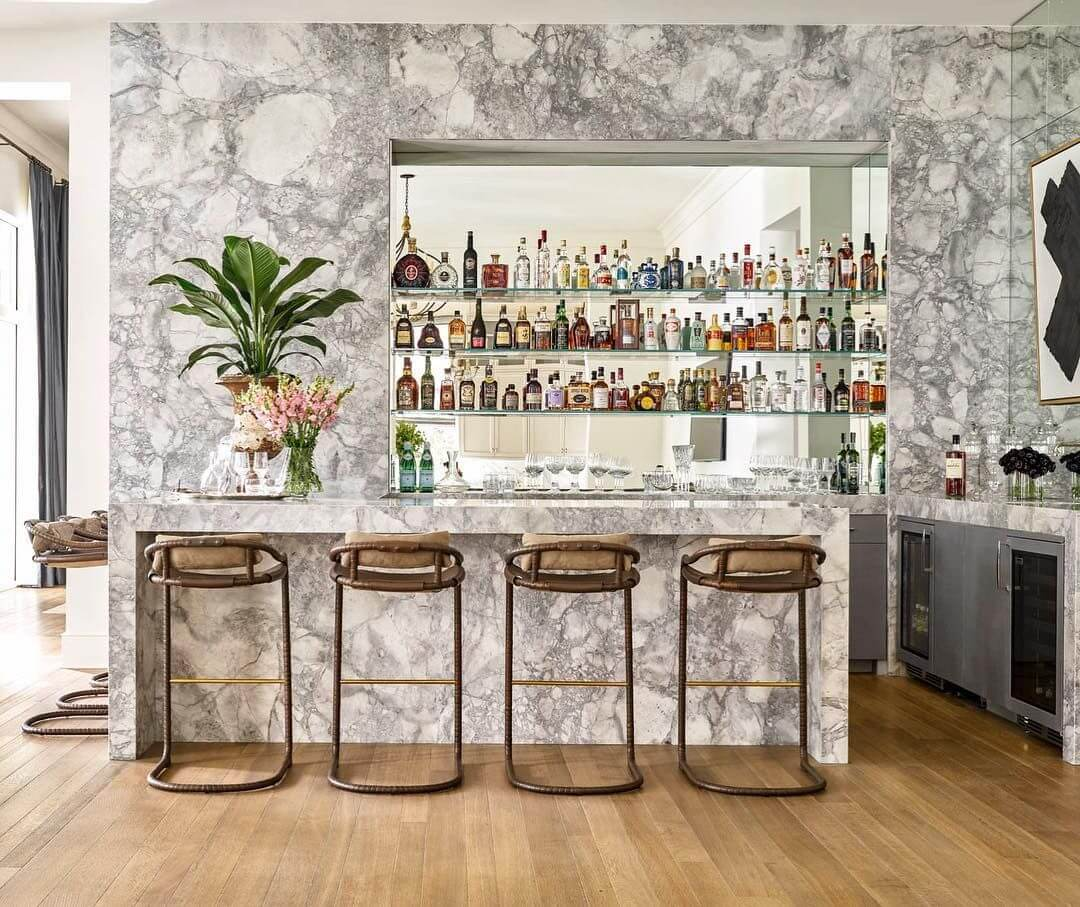 at home bar in marble