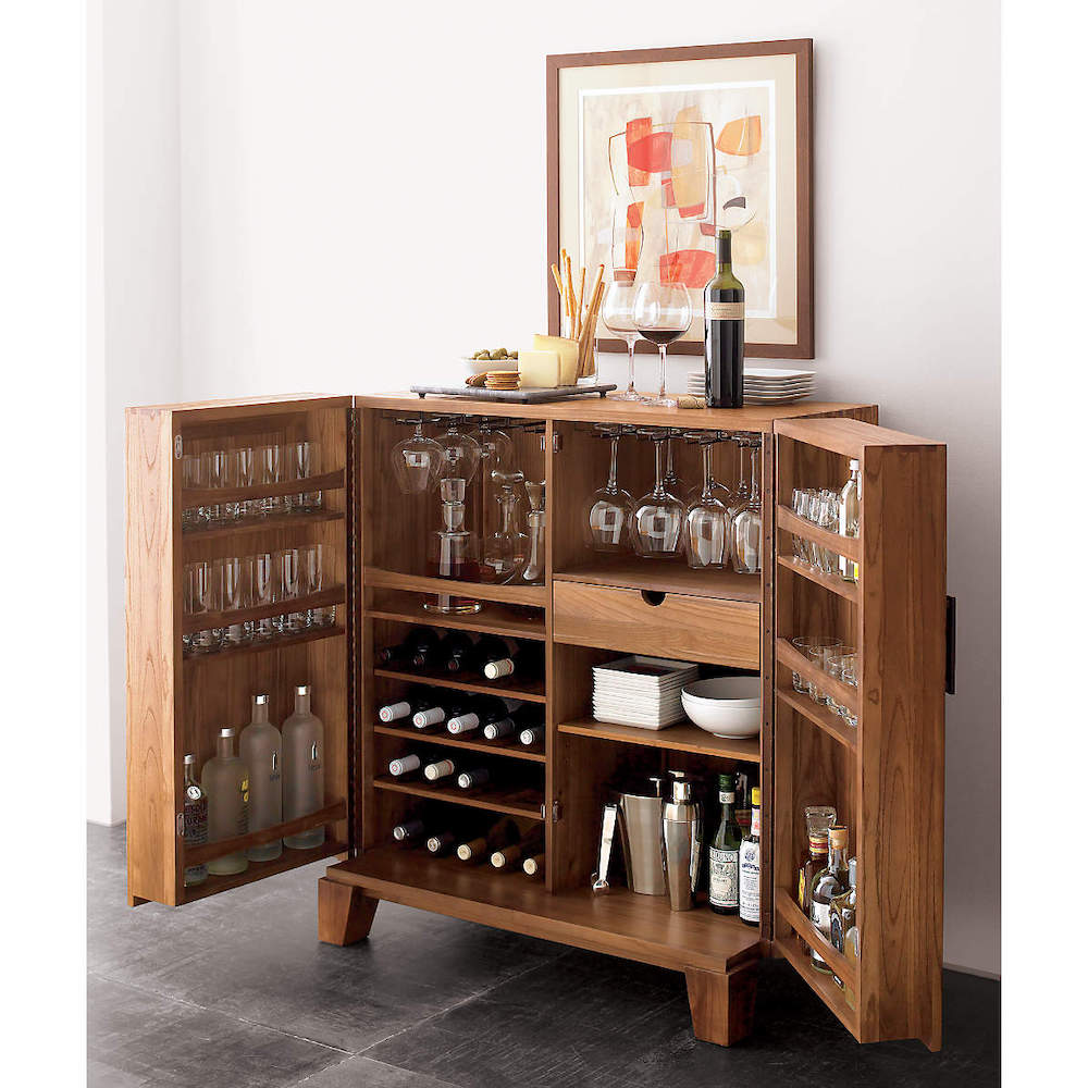 bar cabinet with lots of storage