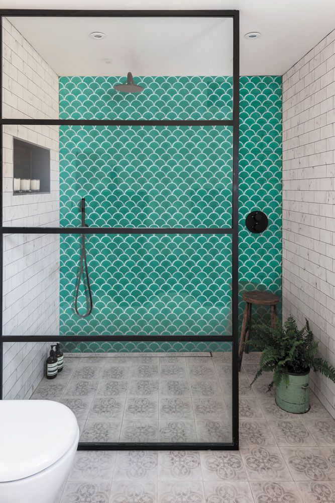 walk-in shower with crittall frame