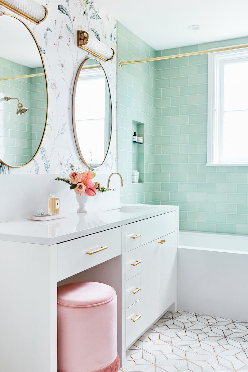 jewel box bathroom with pastels and gold