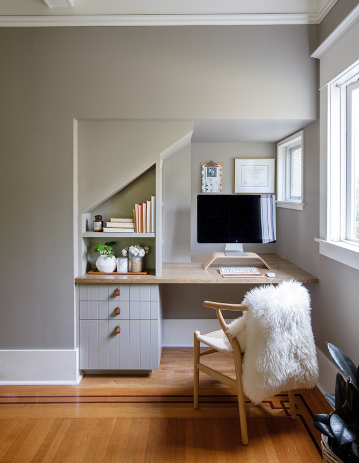closet office with built in desk