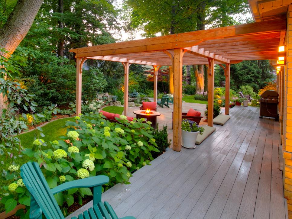 outdoor living space pergola and deck