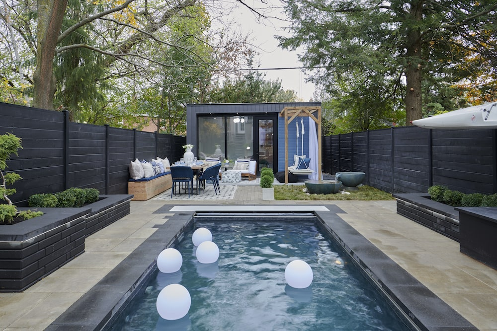long outdoor living space with pool