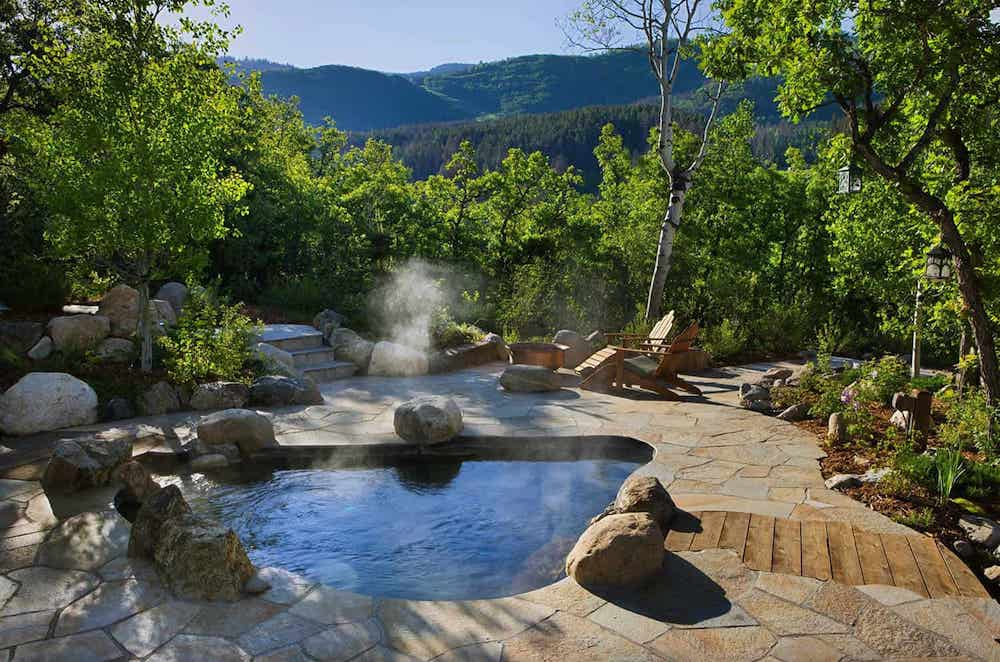 custom in-ground natural hot tub