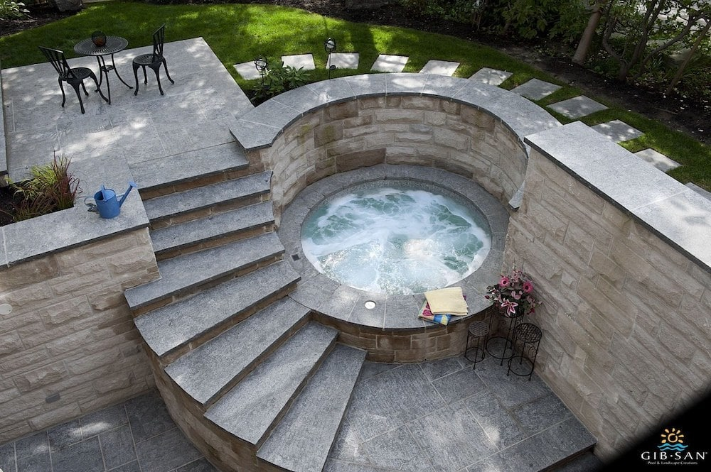 custom concrete round hot tub