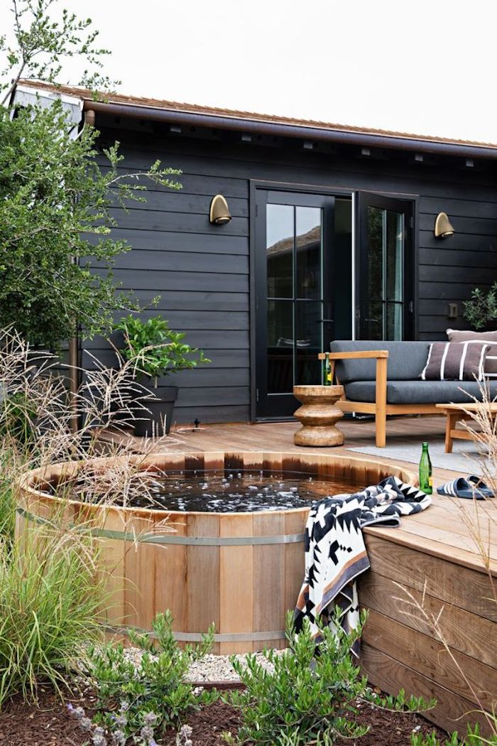 cedar hot tub in deck