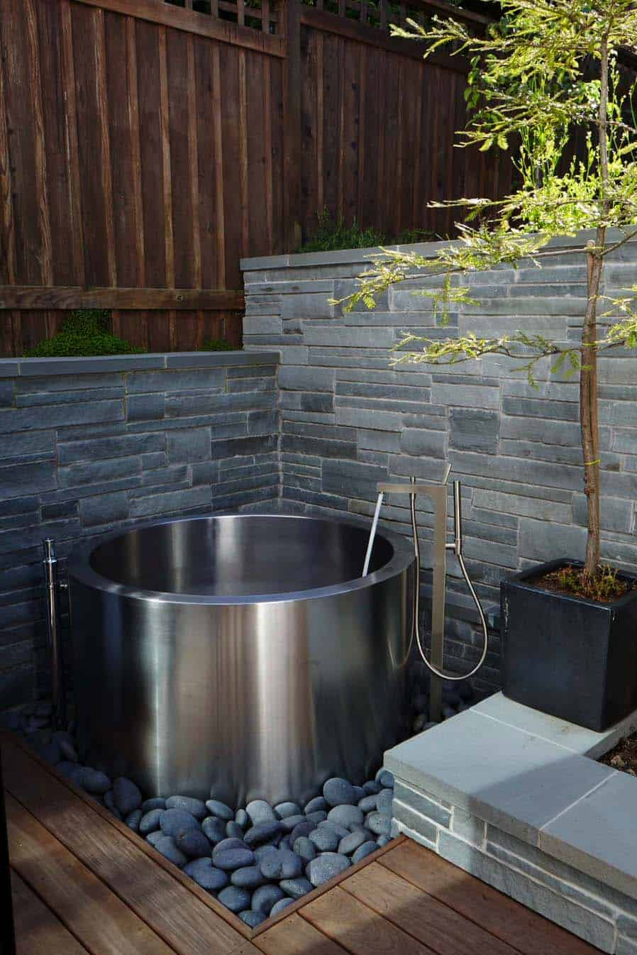 ofuro soaking tub in yard