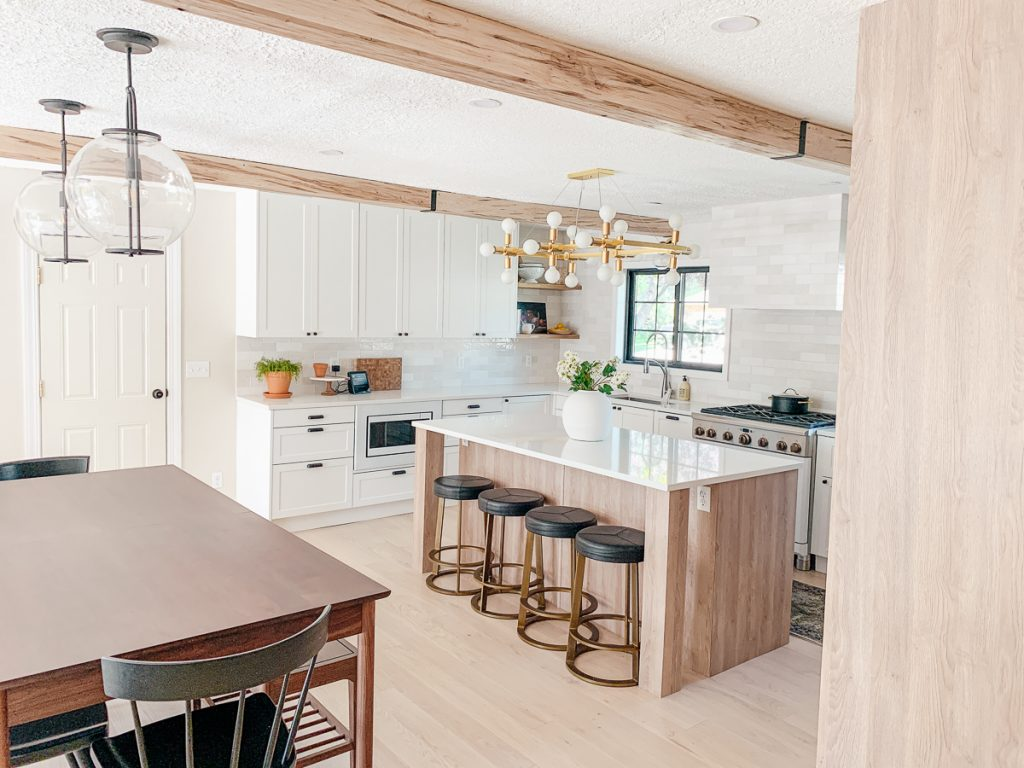 faux wood beams in kitchen
