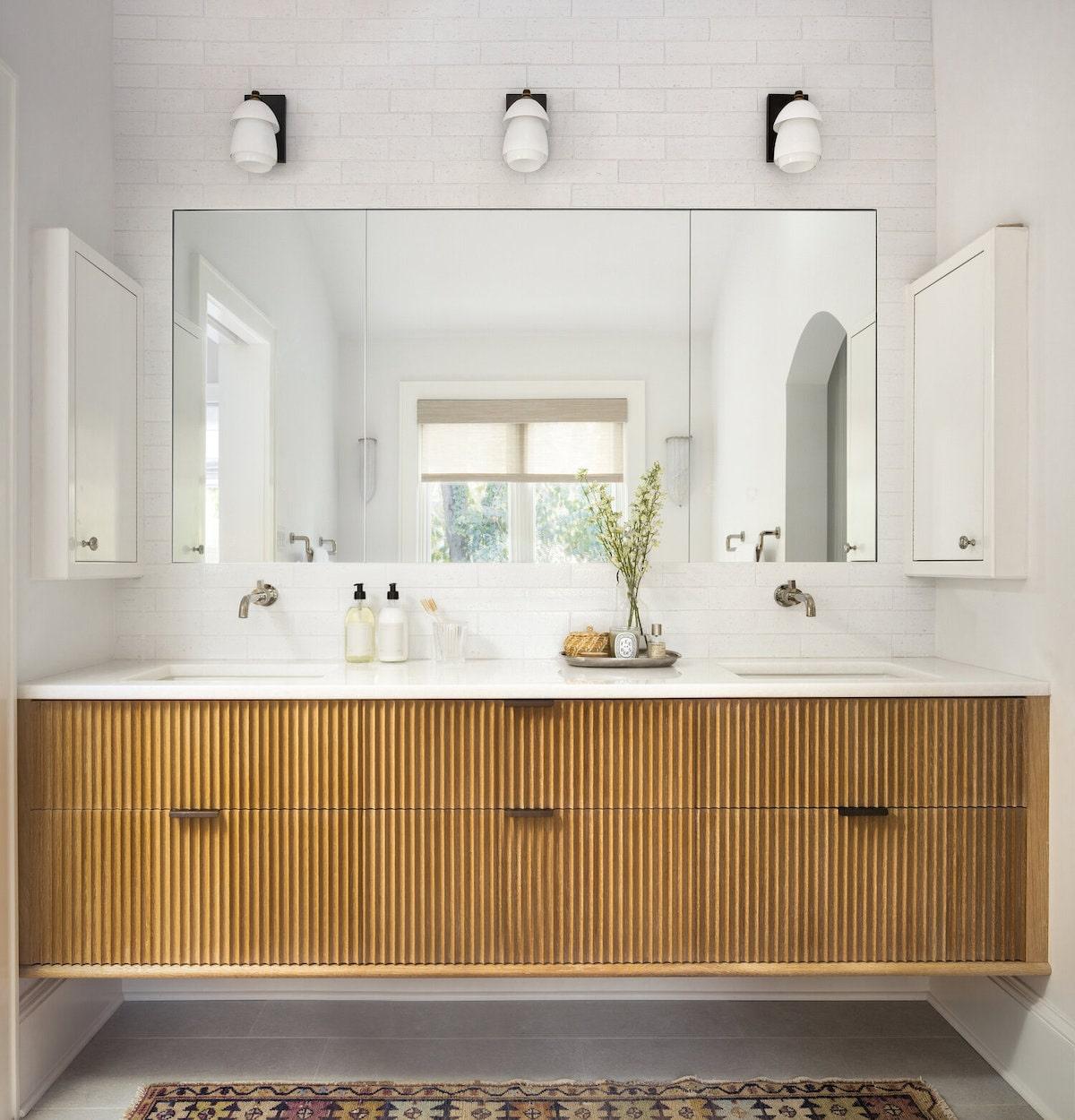 fluted wood vanity