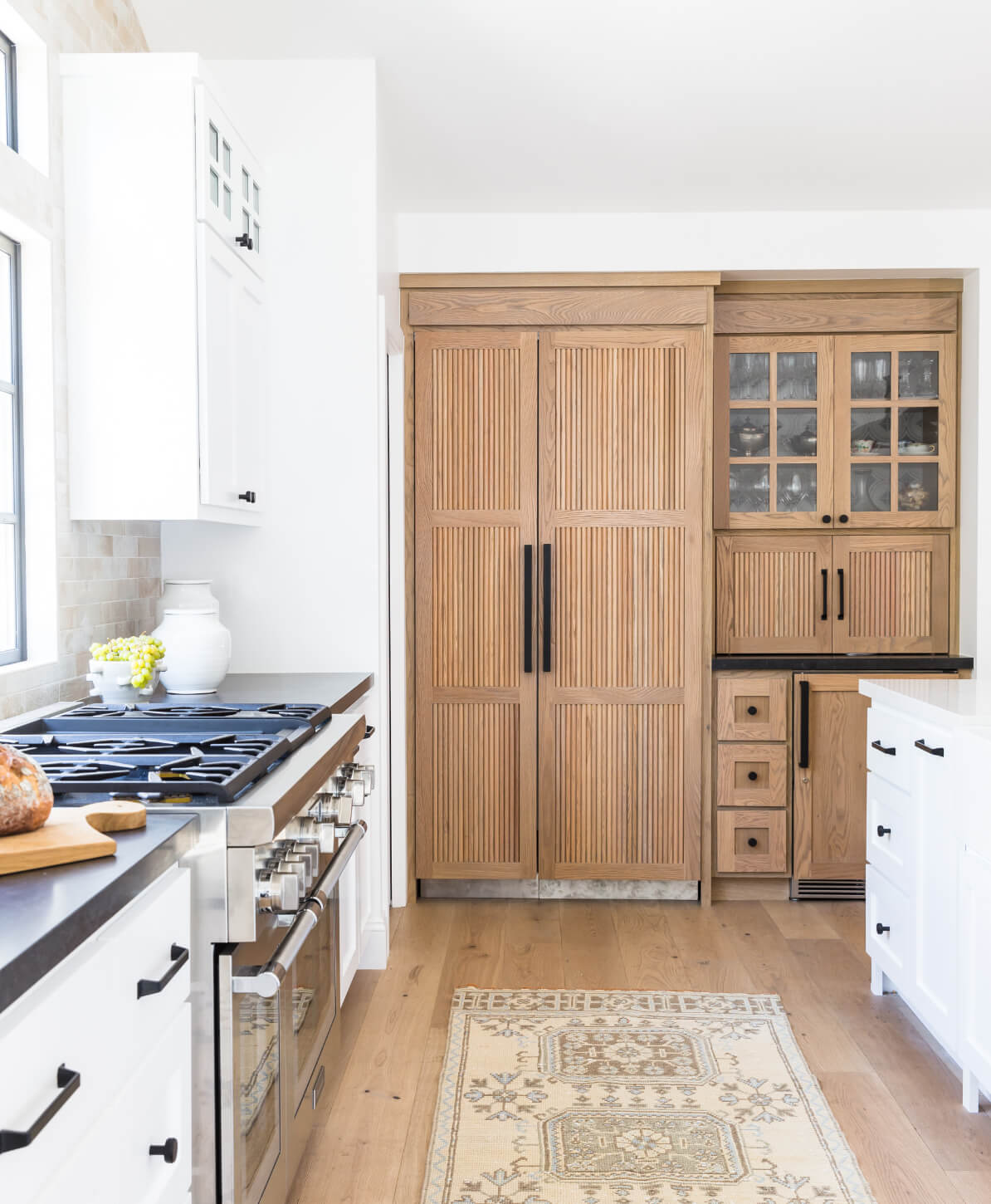 reeded wood kitchen cabinetry