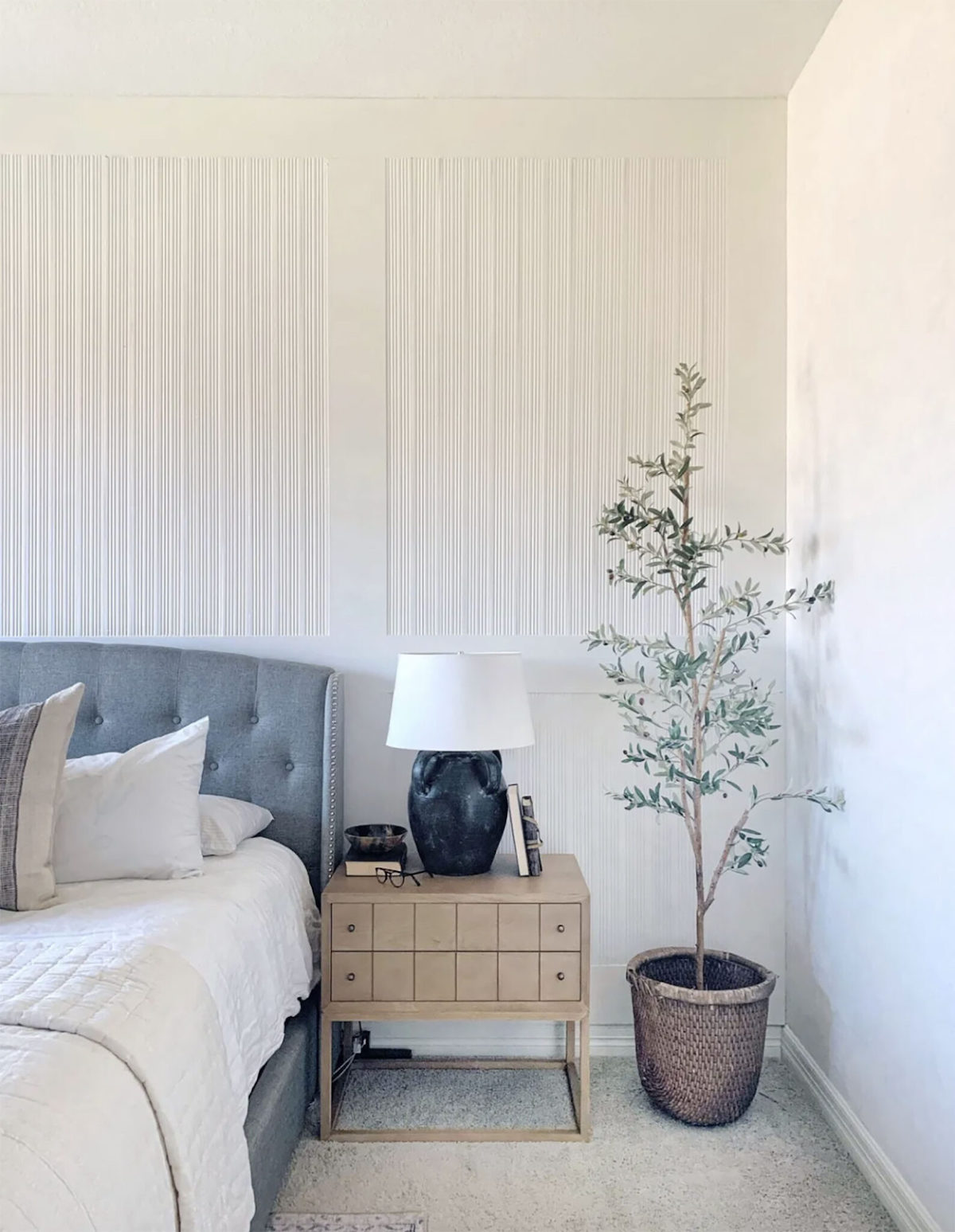 reeded wood accent wall