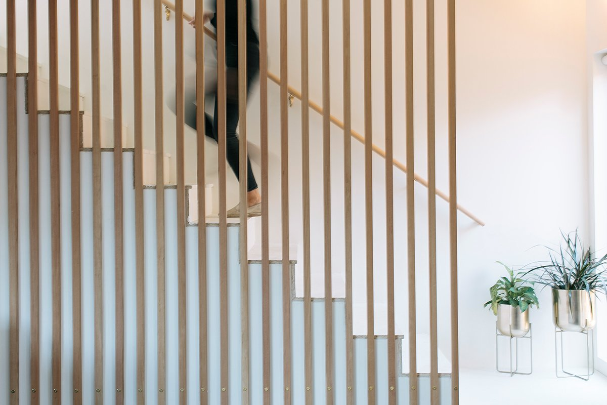 slat wall staircase