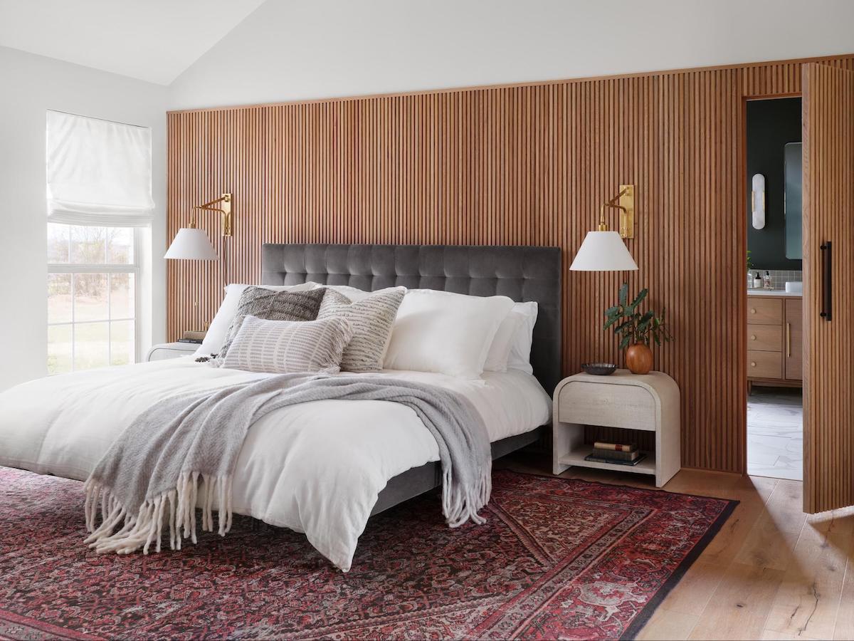 wood slats bedroom feature wall