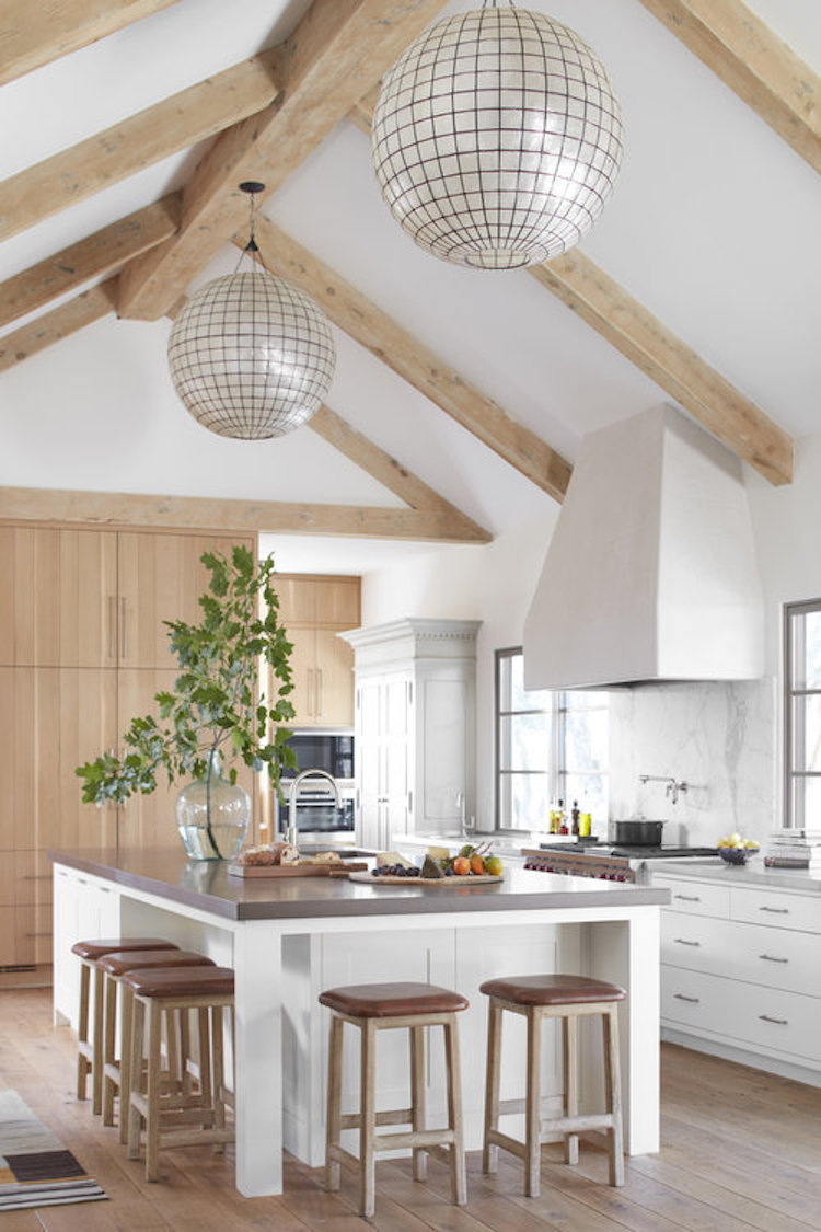 wood beams in kitchen
